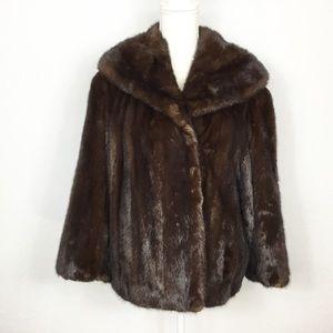 Traeger Bolon Genuine Mink Fur Brown Coat